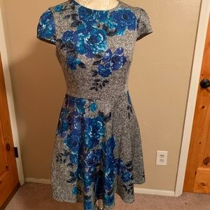 Betsey Johnson a-line dress, blue flowers, size 10